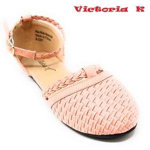 Women Braided Ballerina Flats, B-2281, Pink